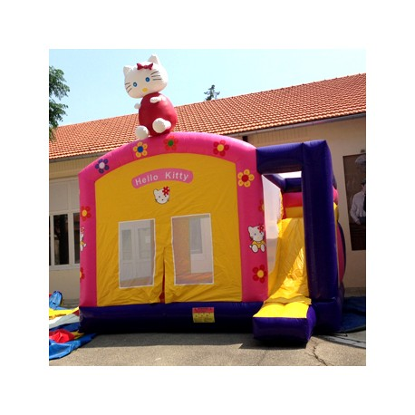 Château gonflable toboggan Hello kitty